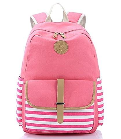 YAAGLE Stripe Printing Canvas Leisure Backpack Fashion College Bag Shoulder Bag Backpack Rucksack for Boys and Girls
