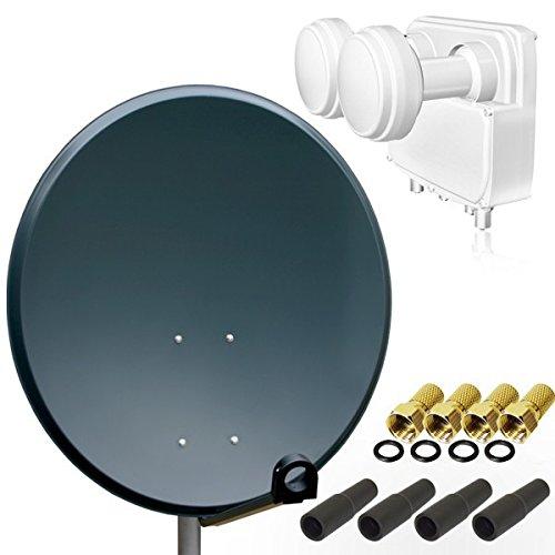 Digital SAT Anlage PremiumX PXA100 Schüssel Spiegel Antenne 100cm in Anthrazit + Opticum Quad Monoblock LNB für Astra und Hotbird 0,1dB FULLHD UHD 4K für 4 Teilnehmer + 4 F-Stecker 7mm vergoldet + 4 Gummitüllen