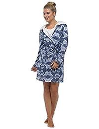 2c3310ee3b Wolf   Harte Women s Butterfly Print Jersey Sherpa Fur Lined Hooded Bath  Robe