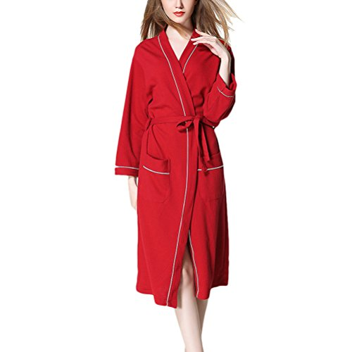 Zhhyltt Classic Accappatoio di lusso Unisex Adult Soft Cotton Lovers Bathrobe Nightgown Plus Size Red
