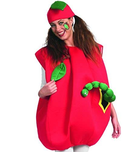 Für Apple Kostüm Erwachsene Größe - FKW Keller Erwachsenenkostüm Apfel mit Wurm Oberteil und Mütze Einheitsgröße