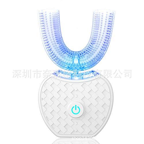 1X Wireless Bianco Automatico Spazzolino Elettrico Sbiancante Denti Luce Blu