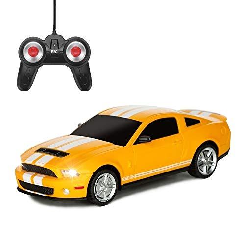 YOOCR Ferngesteuertes Auto for Kinder mit Arbeitsscheinwerfern Spielzeugfahrzeug Ferngesteuertes Auto ABS Kunststoff RC Auto 1:24 Modell 2,4 GHz Gelb Stunt Racing Tolles Spielzeug for Jungen und Mädch