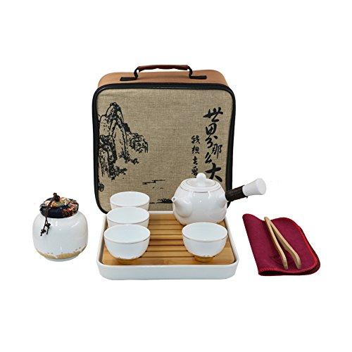 se Kungfu Tee-Set Handgemachte chinesische / japanische Vintage, Porzellan(Goldene Wolkenart - 4 Teetassen & Teekanne & Teedosen) (Vintage Tee-set)