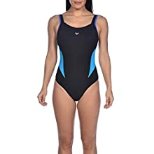 Arena Women's Makimurax One Piece Swimsuit, womens, 29361, black-bright blue-turquoise, 9-Aug