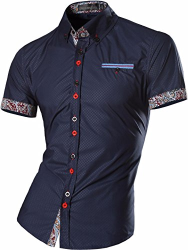 jeansian Homme Chemises Casual Manche Courte Shirt Tops Mode Men Slim Fit 8360 Z026_Navy