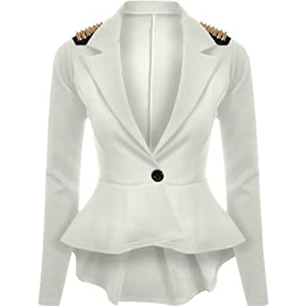 Womens Spike Studded Jacket Ladies Peplum Frill Blazer Tail Back Sexy Top 8-14 (Uk 8 (S), White)