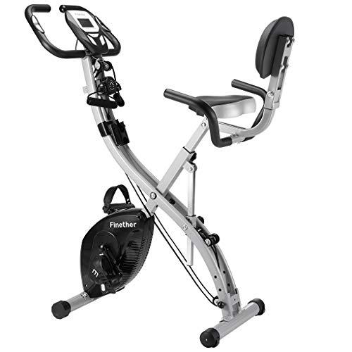 Vélo d'exercice à pliage magnétique Finether, vélo d'entraînement à assistance, bandes de résistance, courroies de pied, 8 niveaux, écran LCD, capteur de pouls
