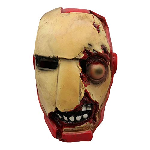 QWEASZER Halloween Scary Terror Iron Man Latex Erwachsenenmaske Marvel Avengers Superheld Living Dead Headgear Zombie Voller Kopf Helm Film Anime Cosplay Kostüm Requisiten,Terror Iron Man-OneSize (Iron Mann Kostüm Spiel)