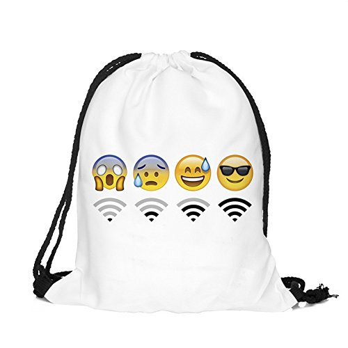 Sacche emoji searchall leggero tela borsa da coulisse zaino gym sacco sacca borsa sport canvas drawstring bag gym sack backpack emoji stuff, bianco wifi