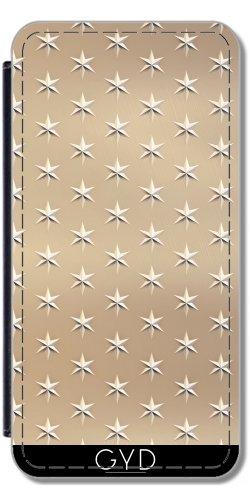 Leder Flip Case Tasche Hülle für Apple iPhone 6/6S - Elegante Gold-Sterne-Muster by Andrea Haase Lederoptik
