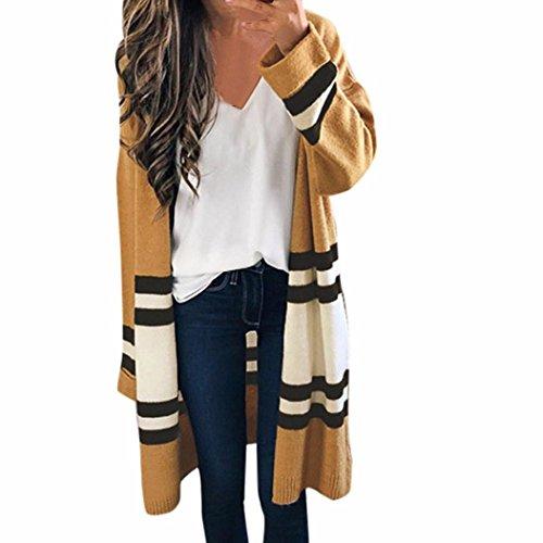 Ansenesna Damen Herbst Winter Langarm Gestreiften Loose Cardigan Pullover Casual Sweatjacke Mantel (Khaki) (Pfirsich-strick-pullover)