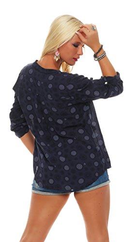 ZARMEXX beau t-shirt à manches longues Viskosebluse motif tunique mandala blouse d'été en forme légère à manches longues chemise Fischer régulière Marine