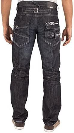New Mens ENZO Designer Straight Leg Blue Black Darkwash Denim Jeans All Waist
