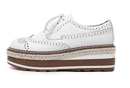 LDMB Frauen dicke untere geschnitzte schnüren sich oben einzelne Schuhe Kursteilnehmer-Schuhe White