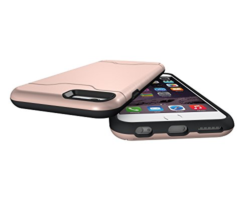 EKINHUI Case Cover Für Apple IPhone 6 & 6s Stoßfänger, gebürstetem Metall Finish Shockproof Schock Absorbtion Schutzhülle Premium Soft Fexible TPU Silikon Abdeckung mit Halter & Card Slot ( Color : Gr Rose Gold