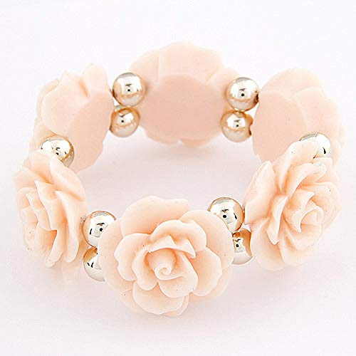 LANSS Elegant Beautiful Big Large Rose Flower Stretch Elastic Bracelet Bangle for Women Lady Party Dress Fashion Jewelry