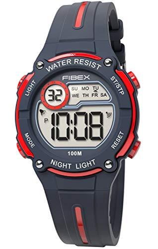 Fibex Mini Reloj de Pulsera Digital Negro/Rojo para niños, Resistente al Agua 10 ATM, Alarma Diaria...
