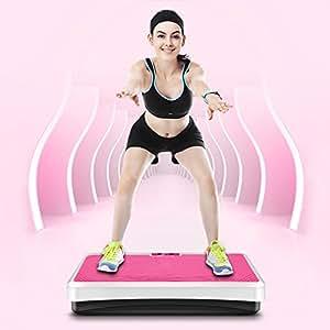 Fitness Vibrationsplatte, Profi Vibrationsgerät mit Fernbedienung,LCD Display,Fitnessplatte für den Büro-Wohnzimmer-Körper-Former(Rosa)
