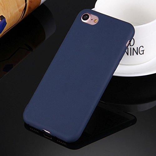 iPhone Case Cover Pour iPhone 7 solide couleur TPU étui de protection sans trou rond ( Color : White ) Dark blue