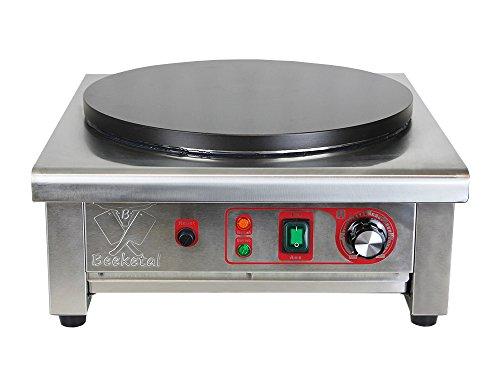 Beeketal \'BC40-1\' Gastro Crepes Maker mit Ø 400 mm antihaft Crepesplatte, 50 - 300 °C stufenlos einstellbar, Profi Crepiere im Edelstahl Gehäuse mit extra Schublade