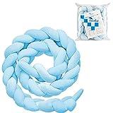 Luchild Bettumrandung Babybett Länge 2m Baby Nestchen Bettumrandung Weben Geflochtene Stoßfänger Dekoration für Krippe Kinderbett (Azurblau)