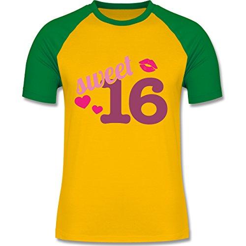 Shirtracer Geburtstag - Sweet 16 - Herren Baseball Shirt Gelb/Grün
