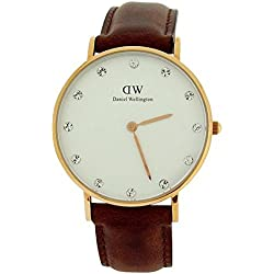 Daniel Wellington Damen-Armbanduhr 34mm Armband Kalbsleder Braun Gehäuse Edelstahl Quarz Analog 0950DW