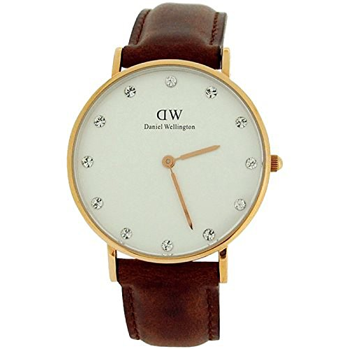 Daniel Wellington Classy St Mawes Rose 34mm Brown Leather Strap Watch 0950DW