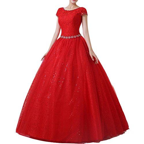 Damen Hochzeitskleid Runde Ausschnitt Kurzarm Lange Spitzen Abendkleider Rot M