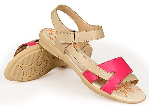 Bon Augure Toe Confortable En Cuir Peep Sandales Plates Chaussures De Plage Pour Les Femmes Rouge