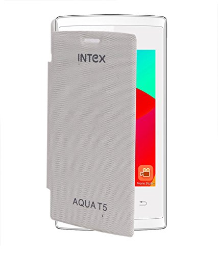 Stromax Flip Cover For Intex Aqua T5 - White  available at amazon for Rs.149