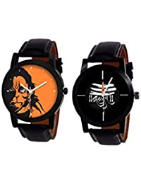 SKYLONA® Combo Of 2 Cristal Black Leather Belt Mahadev & Hanuman Analog & Casual & Formal Watch For Men And Boys...