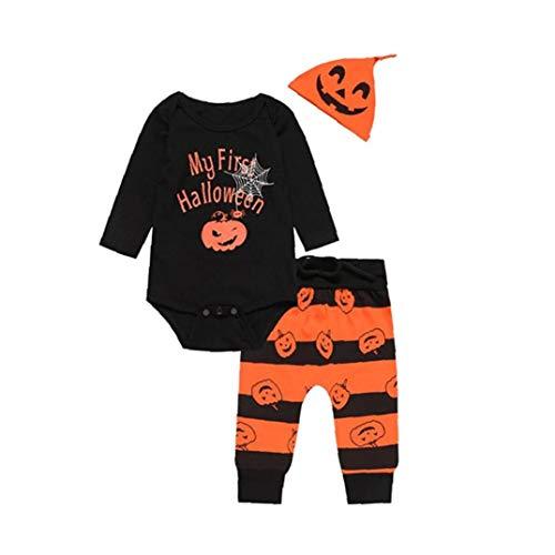 Künstler Kostüm Kleinkind - JRXyDfxn Halloween-Kürbis-Druck Nettes Kind-Baby-Junge-Kleidung Langarm-Spielanzug Mit Hut Und Hose Set 3pc (12M)
