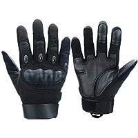 Xnuoyo Gloves Gummi Hart Knuckle Vollfinger und Halbe Fingerhandschuhe Schutzhandschuhe Touchscreen Handschuhe für Motorrad Radfahren Jagd Klettern Camping (L, Schwarz)
