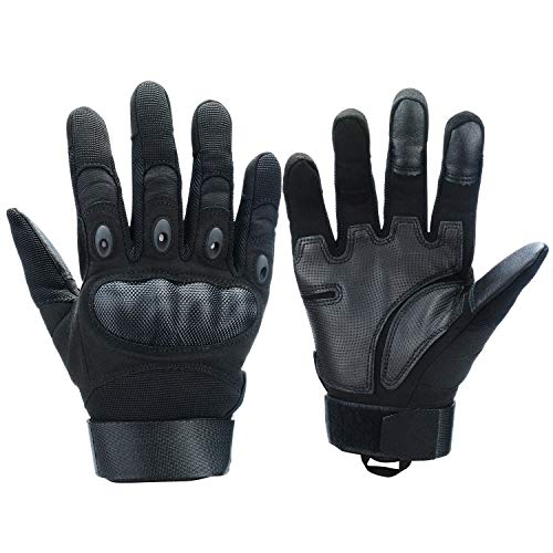 Xnuoyo Gomma dura Knuckle Full Finger e Mezza Finger Gloves Guanti di protezione Touch Screen Guanti per Moto Ciclismo Caccia Arrampicata Camping (nero, Medium)