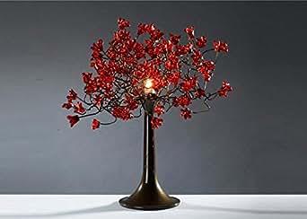 Lampe de chevet abat jour rouge art floral moderne for Lampe de chevet romantique