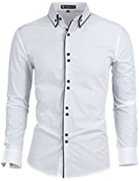 Sourcingmap Men Tiered Point Collar Long Sleeve Single Breasted Shirt