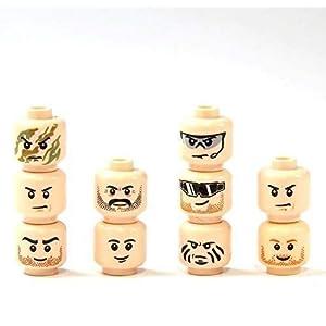 10 Custom Teste Tan Colore Pelle per Figure Lego® Poliziotto Soldato SWAT City Head Giocattolo LEGO