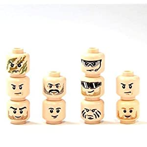 10 Custom Teste Tan Colore Pelle per Figure Lego® Poliziotto Soldato SWAT City Head 1188, months LEGO