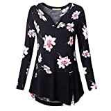 VEMOW Sommer Herbst Elegant Damen Oberteil Langarm O Neck Printed Flared Floral Beiläufig Täglich Geschäft Trainieren Tops Tunika T-Shirt Bluse Pulli(A2-Schwarz, EU-52/CN-5XL)