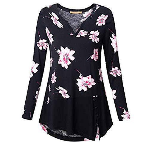 VEMOW Sommer Herbst Elegant Damen Oberteil Langarm O Neck Printed Flared Floral Beiläufig Täglich Geschäft Trainieren Tops Tunika T-Shirt Bluse Pulli(A2-Schwarz, EU-48/CN-3XL)