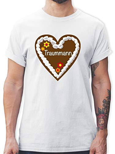 Mann Lebkuchen Der Kostüm - Oktoberfest Herren - Lebkuchenherz Traummann - XL - Weiß - L190 - Herren T-Shirt und Männer Tshirt