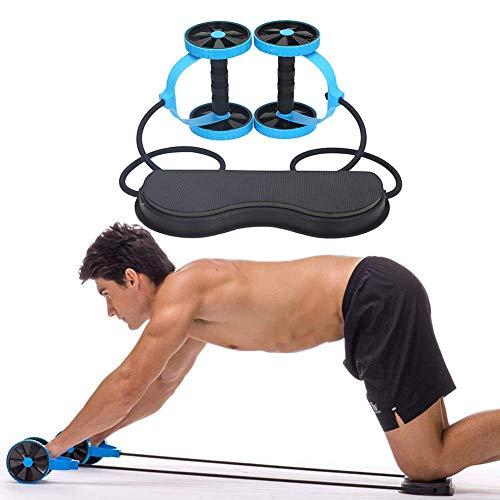 AZCX Widerstandsbänder Sport Core Double AB Roller-Trainingsgerät, professionelle Ab Wheel Roller-Stützen, tragbare Abdominal Workout Machine-Fitness,Blue
