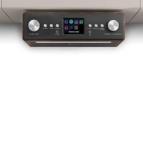 """auna Connect Soundchef • Radio encastrable • Radio cuisine • Radio numérique • Internet • DAB + • FM • 2 enceintes 3 """"• Port USB • 10 stations préréglées • avec télécommande • marron"""