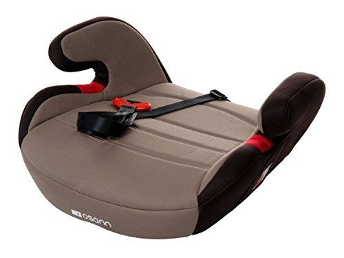 Auto Kindersitz (Sitzerhöhung, Kindersitzerhöhung, Auto-Sitzerhöhung, Kindersitz, Kinderautositz mit Gurtfix, Gruppe 2/3, von 3-12 Jahren, 15-36 kg, ECE R44/04, Babyblume BOOST Gurtfix, Black Grey)