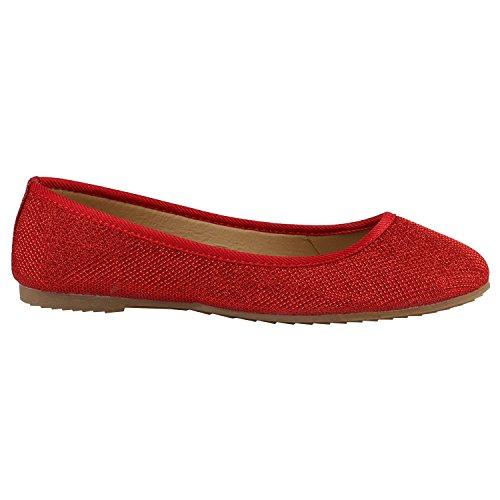 Klassische Damen Ballerinas Lederoptik Modische Schuhe Freizeit Rot Glitzer