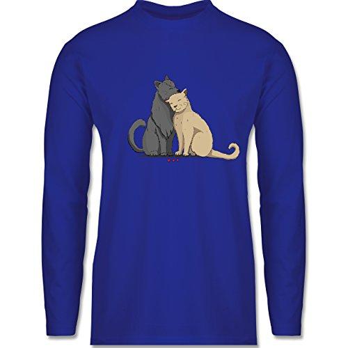 Shirtracer Katzen - Kuschelnde Katzen - Herren Langarmshirt Royalblau