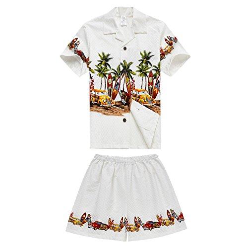 Chico-Hawaiian-Aloha-Luau-camisa-y-pantalones-cortos-de-2-piezas-de-cabaa-Set-en-off-blanco-coches