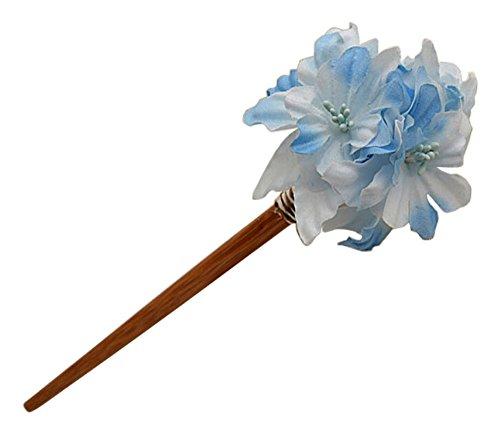 Style floral japonais bâton épingle à cheveux Ornements cheveux Couvre-chef bleu